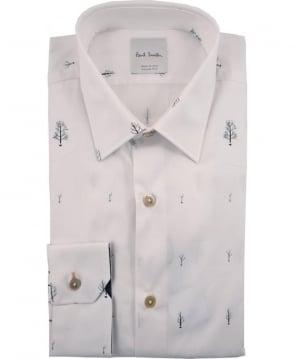 Paul Smith  White PRXC-800P-V67 Tree Design Italian Made Shirt