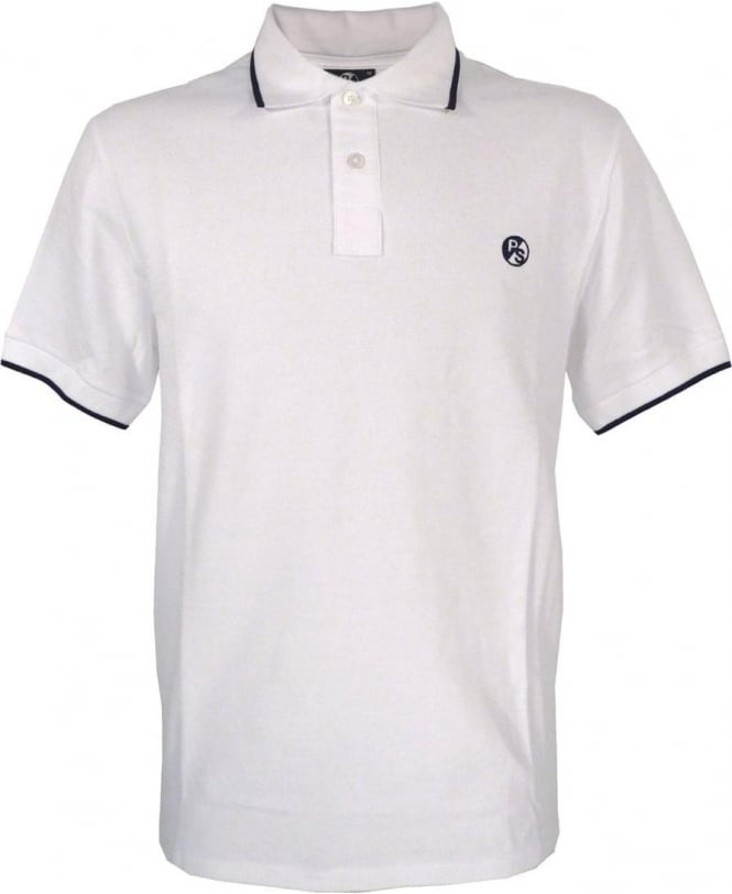 PS By Paul Smith White PS Logo With Collar Trim Polo Shirt