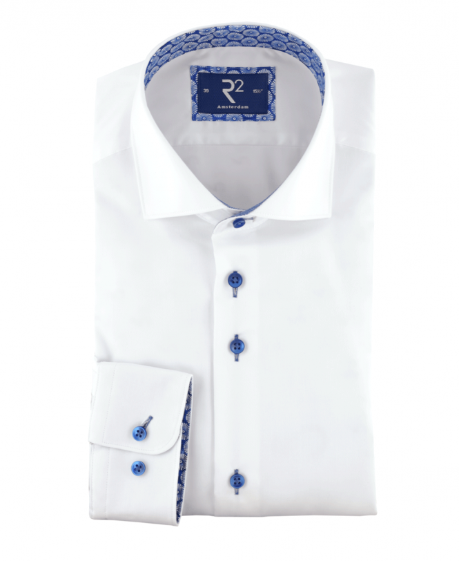 R2 Amsterdam White Shirt With Blue Contrast