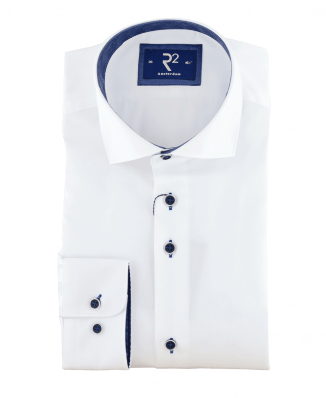 R2 Amsterdam White Shirt With Dark Blue Contrast