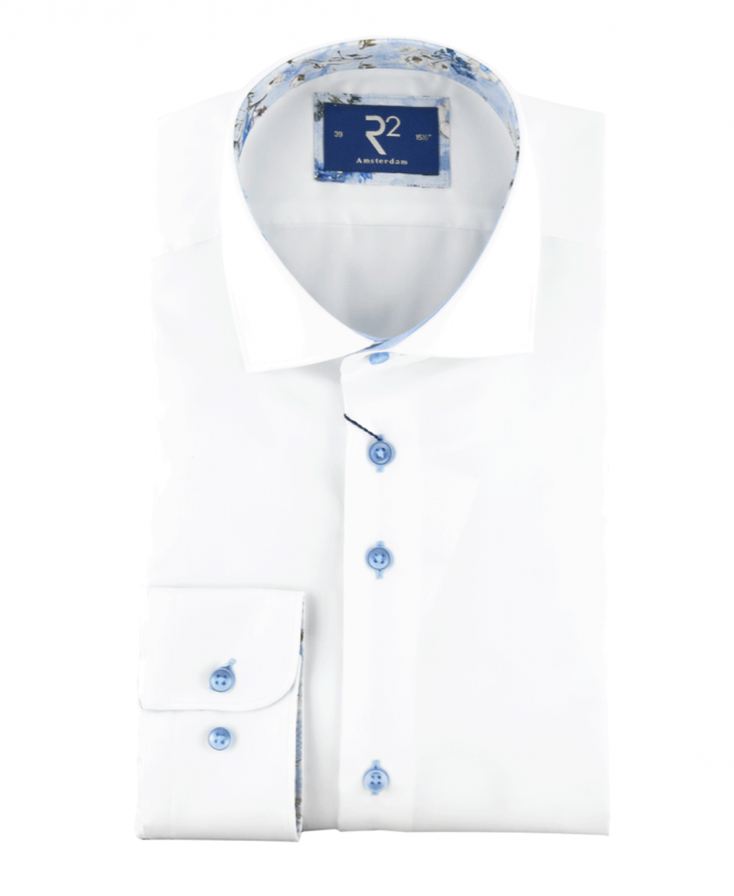 R2 Amsterdam White Shirt With Flower Contrast
