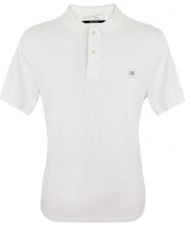 CP Company White Short Sleeve Regular Fit Polo Shirt
