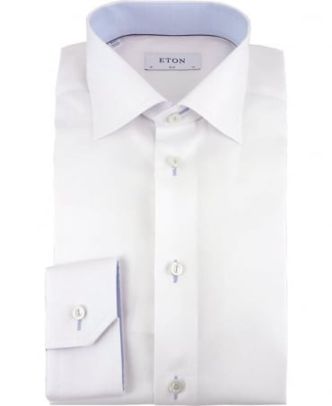 Eton Shirts White Signature Twill Slim Fit Trim Detail Shirt