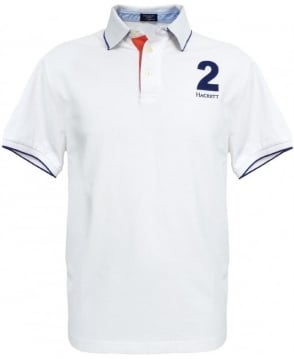 Hackett White Slim Fit Blue Trim Polo