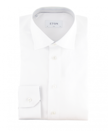White Slim Fit With Contrasting Inner Collar & Cuffs Shirt