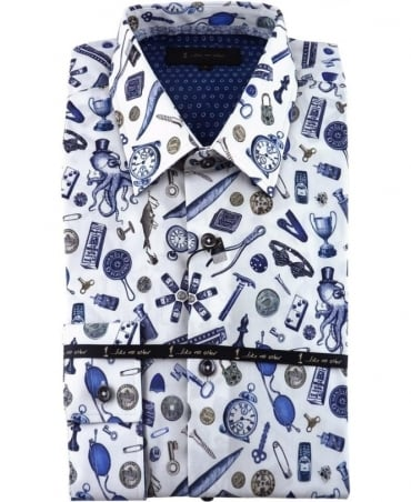 1 ...Like No Other White Spectacle Print Classic Fit Shirt