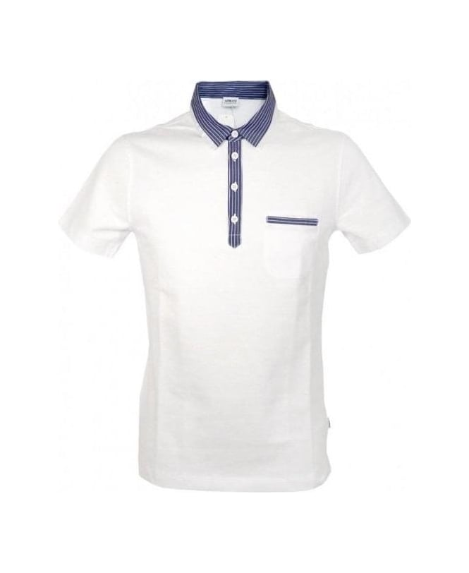 Armani White & Stripe Collar Polo