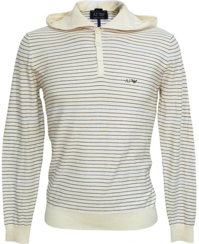 Armani White Stripe V6W05TF Hooded Knitwear Sweatshirt
