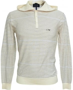 Armani Jeans White Stripe V6W05TF Hooded Knitwear Sweatshirt
