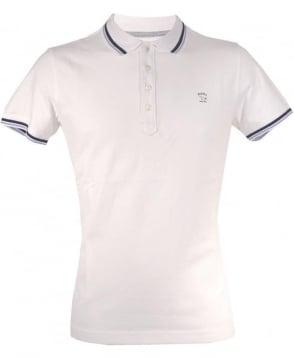 Diesel White T-oin Blue Trim Polo