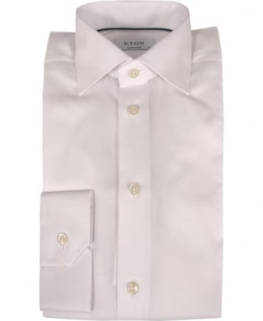 Eton Shirts White Textured 321079334 Cut Away Collar Shirt
