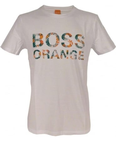Hugo Boss White 'Tomsin 1' with Logo Lettering T/Shirt