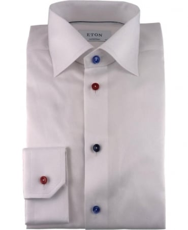 Eton Shirts White Twill Shirt With Multi Colloured Buttons