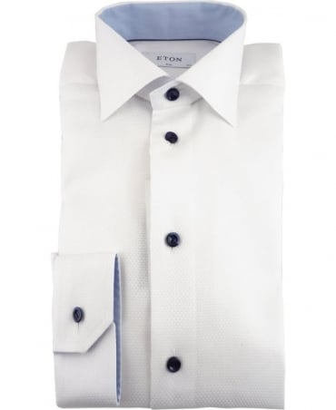 Eton Shirts White Twill Shirt With Navy Buttons