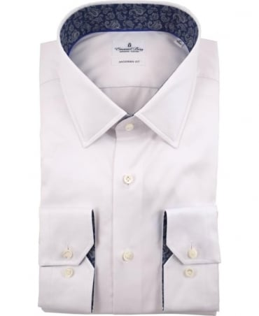 Emanuel Berg White Warsaw Paisley Collar And Cuff Trim Shirt