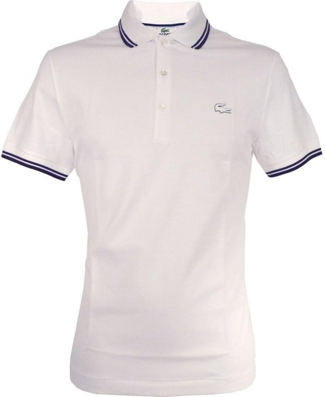 Lacoste White With Contrasting Piping Slim Fit Polo