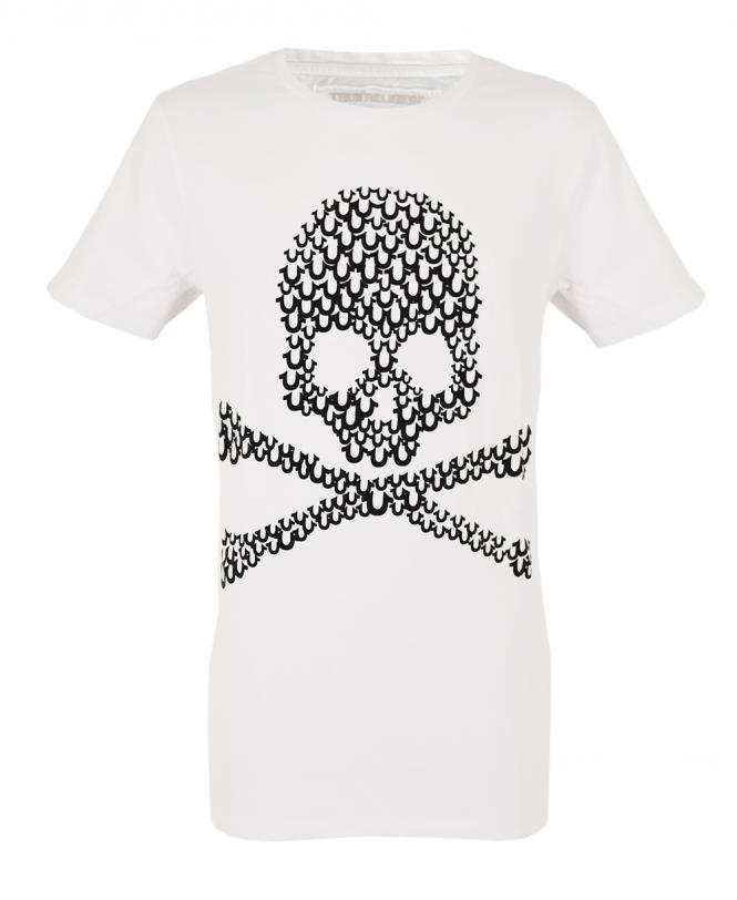 4889ee4e White With Horseshoe Logo Skull Design T-Shirt