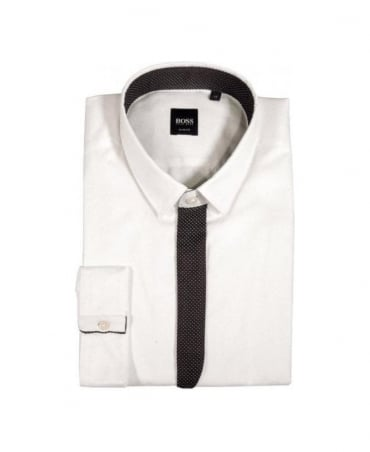 Hugo Boss White with Navy Polka Dot Button Half Cover