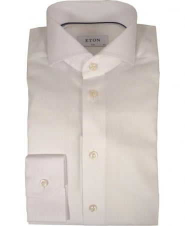 Eton Shirts White Woven Micro Pattern Shirt