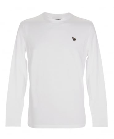 PS By Paul Smith White Zebra Embroidered Chest Logo Long Sleeve T-shirt