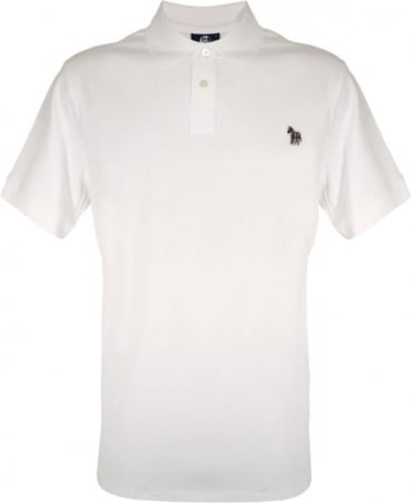 PS By Paul Smith White Zebra Embroidered Chest Logo Polo