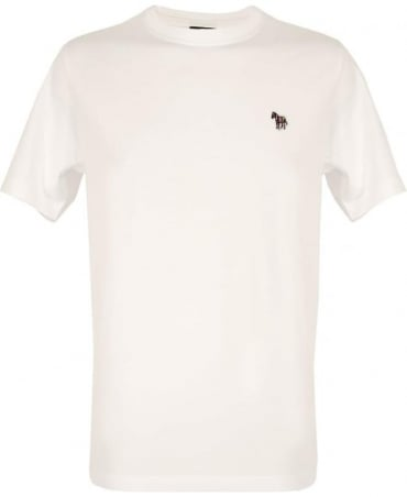PS By Paul Smith White Zebra Embroidered Chest Logo T-shirt