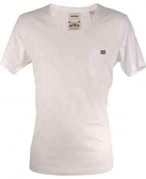 Diesel White Zotikos Scoop Neck T-shirt