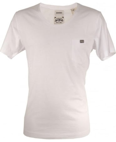 Diesel White Zotikos Scoop Neck T-shirt