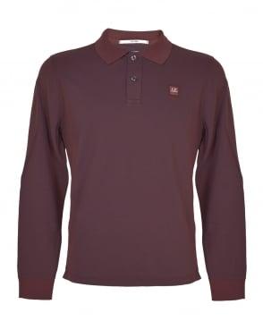 C.P. Company Wine MPL043A Long Sleeve Polo Shirt