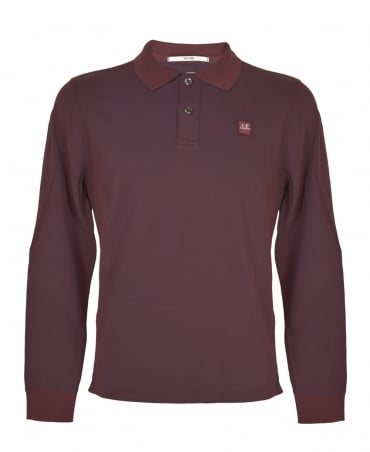CP Company Wine MPL043A Long Sleeve Polo Shirt