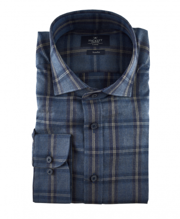Winter Navy Large Plaid Slim Fit Shirt