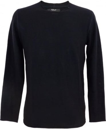 Replay Wool Blend Crew Neck Jumper In Dark Blue