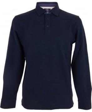 Hackett Woven Long Sleeved Polo Shirt In Navy