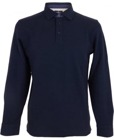 Hackett Woven Long Sleeved Polo Shirt In Navy