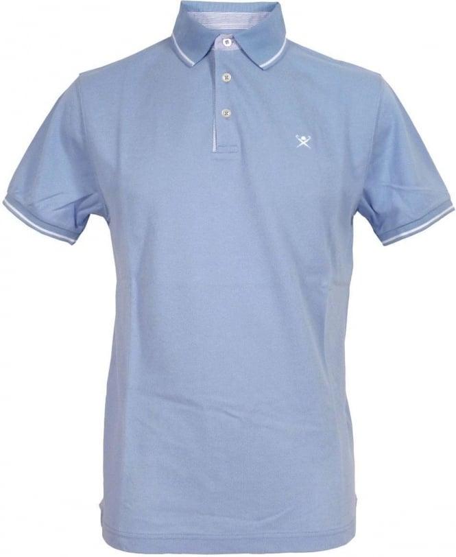 Hackett Woven Trim Polo Shirt In Light Blue