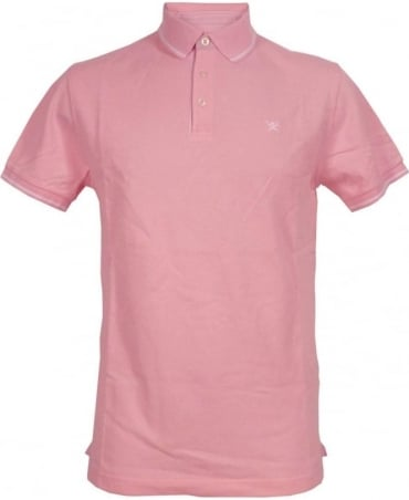 Woven Trim Polo Shirt In Pink