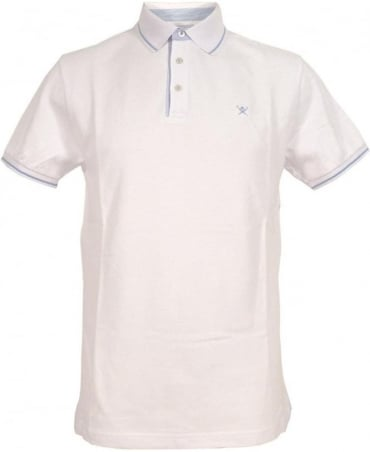 Hackett Woven Trim Polo Shirt In White