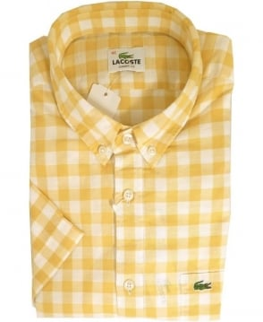 Lacoste Yellow CH8757 Check Button Down Short Sleeve Shirt