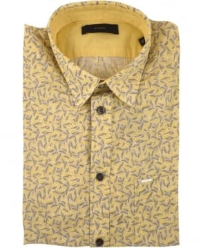 Diesel Yellow Palms Allover Print Short Sleeve Shirts