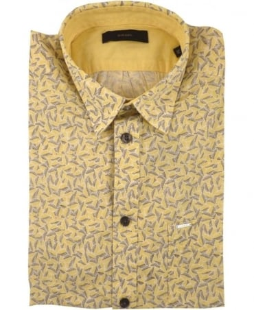 Yellow Palms Allover Print Short Sleeve Shirts