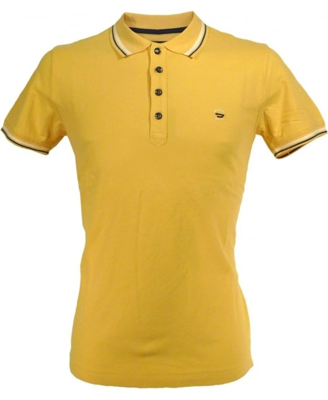 Diesel Yellow T-Oin Blue And White Trim Polo